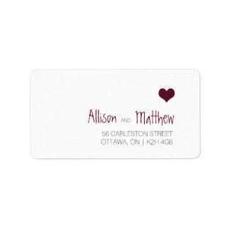 Marsala Heart Wedding Address Label