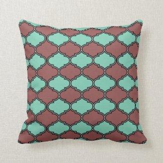 Marsala Mint Decorative Quatrefoil Moroccan Throw Pillow