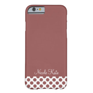 Marsala Modern Polka Dots Monogram Barely There iPhone 6 Case