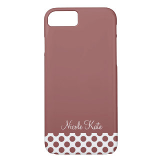 Marsala Modern Polka Dots Monogram iPhone 8/7 Case