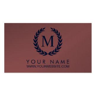 Marsala & Navy Blue Laurel Wreath Monogram Double-Sided Standard Business Cards (Pack Of 100)