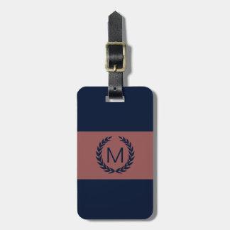 Marsala & Navy Blue Laurel Wreath Monogram Tags For Bags