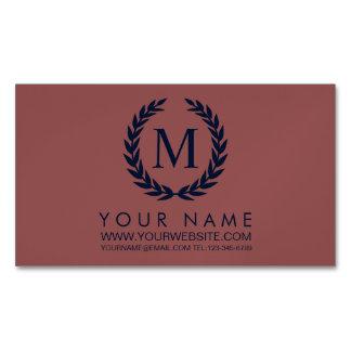 Marsala & Navy Blue Laurel Wreath Monogram Magnetic Business Cards (Pack Of 25)