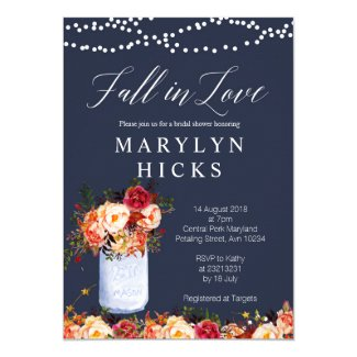 Marsala Navy Fall in Love Bridal Shower Invitation