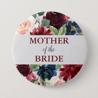 Marsala & Navy Floral Shabby Chic Mother of Bride Button