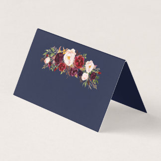 Marsala Navy Floral Wedding Name Folded Place Card