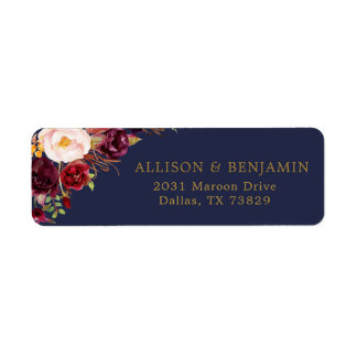 Marsala Navy Flowers Return Address Label