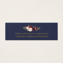 Marsala Navy Gold Floral Wedding Registry Cards