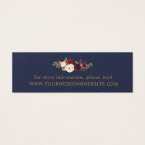 Marsala Navy Gold Floral Wedding Website Cards