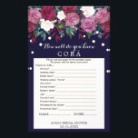 """Marsala &amp; Navy How Well Do You Know The Bride Game Flyer<br><div class=""""desc"""">This marsala &amp; navy &quot;how well do you know the bride&quot; game is perfect for a fancy romantic flower theme bridal shower. The front of the game card features &quot;how well do you know the bride&quot;, and the back of the card features &quot;what&#39;s in your purse&quot;. The design features a...</div>"""