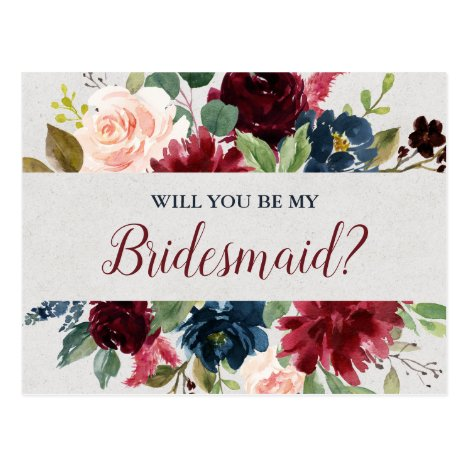 Marsala & Navy Wedding Floral Bridesmaid Proposal Postcard