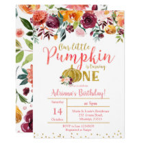 Marsala Our Little Pumpkin Is Turning One Invitation