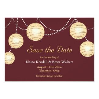 Marsala Party Lanterns Save the Date Invitation