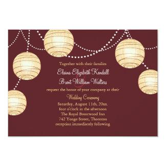 Marsala Party Lanterns Wedding Invitation