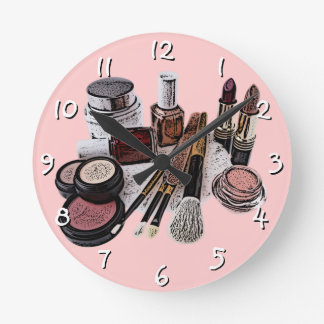 Marsala Pastel Pink Beauty Salon Makeup Products Round Clock