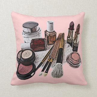 Marsala Pastel Pink Beauty Salon Makeup Products Throw Pillow