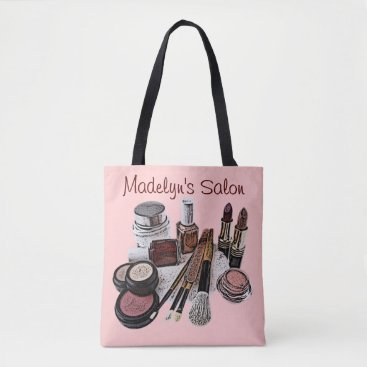 Professional Business Marsala Pastel Pink Beauty Salon Makeup Products Tote Bag