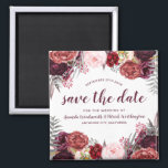 """Marsala Peony Fall Wedding Save the Date Magnets<br><div class=""""desc"""">Marsala Peony Fall Wedding Save the Date Magnets - features a white background with various peonies, roses, and other floral elements in shades of Marsala, burgundy, blush pink, gray and more. View the full matching collection link found on this page to complete the look for your event. You&#39;ll see a...</div>"""