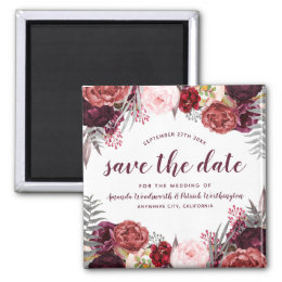 Marsala Peony Fall Wedding Save the Date Magnets