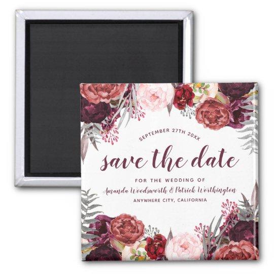 Marsala Peony Fall Wedding Save The Date Magnets