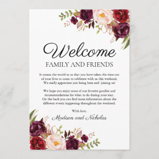 Marsala & Pink Floral Wedding Hotel Welcome Cards