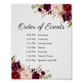 Marsala Pink Floral Wedding Order of Events Sign