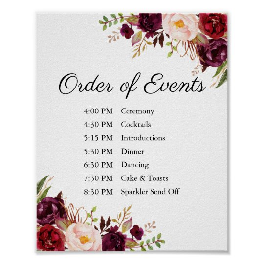Marsala Pink Fl Wedding Order Of Events Sign
