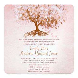 Marsala Pink Heart Leaf Tree Wedding Invitations