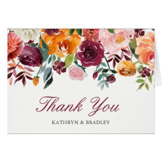 Marsala Pink Orange Blossom Flowers Thank You Card