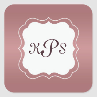Marsala Pink Rose Monogram Bracket Frame Sticker