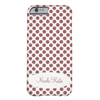 Marsala Polka Dots Monogram Barely There iPhone 6 Case