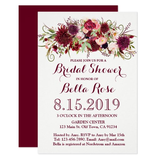 Marsala Red Burgundy Floral Bridal Shower Invite
