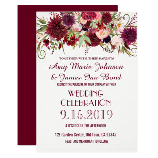 Marsala Red Burgundy Floral Chic Wedding Cards