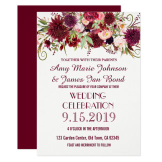 Marsala Red Burgundy Floral Wedding Invitations