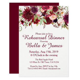 Marsala Red Burgundy Wedding Rehearsal Invitations