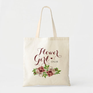 Marsala Red Floral Flower Girl Tote Bag