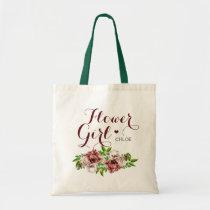 Marsala Red Floral Flower Girl Tote Bag
