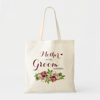 Marsala Red Floral Mother of the Groom Tote Bag