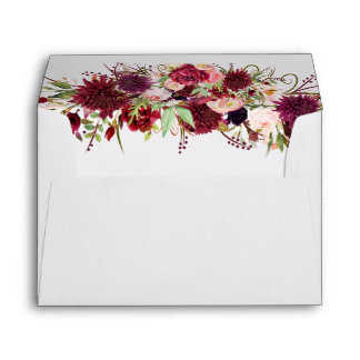 Marsala Red Floral Wedding Envelopes