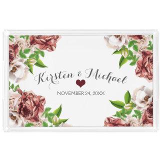Marsala Red Floral | Wedding Keepsake Acrylic Tray