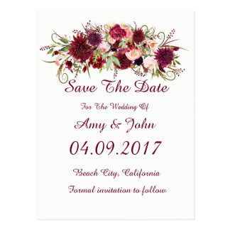 Marsala Red Floral Wedding Save the Date Postcard