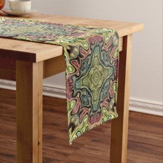 Marsala Red Ochre Yellow Teal Batik Mosaic Pattern Medium Table Runner