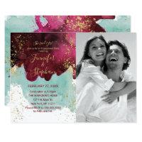 Marsala Red Teal Watercolor Gold Splash Engagement Invitation