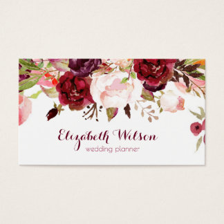 marsala red watercolor flowers business card