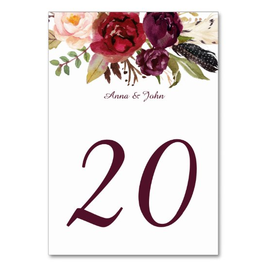 Marsala Red White Roses Feathers Boho Table Cards