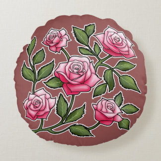 Marsala - Rose Floral Round Pillow