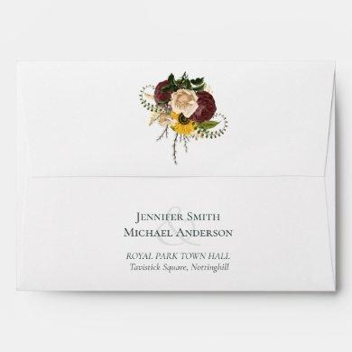 Marsala Roses Sunflowers Budget Cheap Wedding Envelope