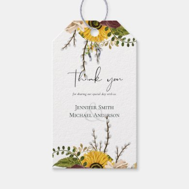 Marsala Roses Sunflowers Budget Cheap Wedding Gift Tags