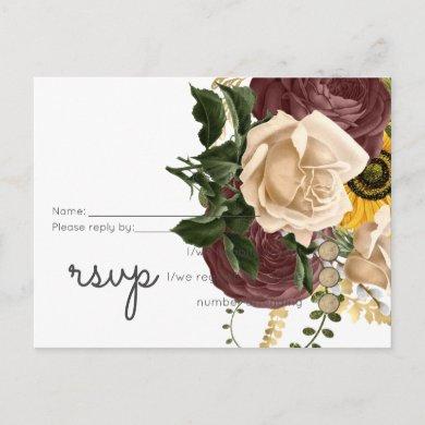 Marsala Roses Sunflowers Budget Cheap Wedding Invitation Postcard
