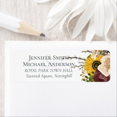 Marsala Roses Sunflowers Budget Cheap Wedding Label